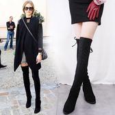 保暖加絨過膝長靴長筒靴彈力靴高筒靴高跟瘦腿女靴 糖果時尚