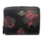 【COACH】立體LOGO PVC皮革ㄇ型拉鍊輕便短夾內零錢袋(紅玫瑰)