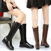 軍靴韓版時尚百搭雙皮帶扣內裹毛皮質長靴【02S7762】
