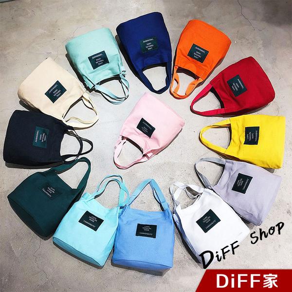【DIFF】簡約文青風字母水桶帆布包 兩種用法手提/肩背 手提包 肩背包 包包 化妝包【B25】
