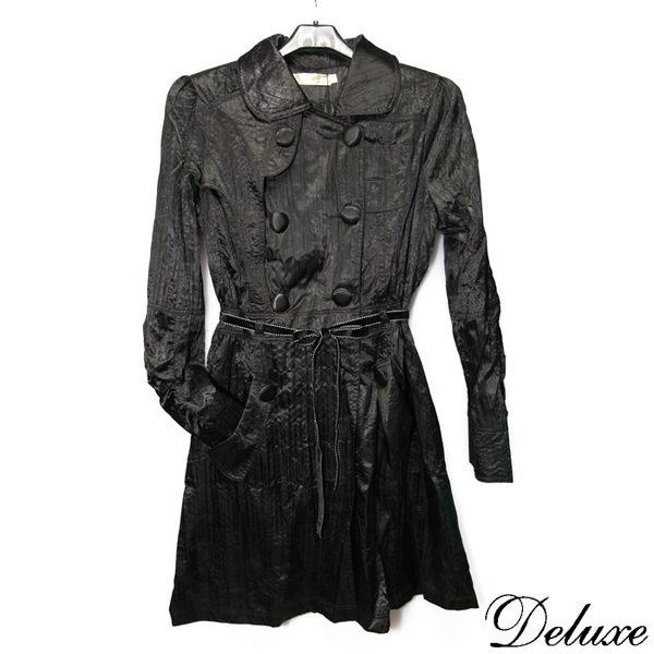 【Deluxe】英倫時尚簡約雙排釦長版風衣(黑)