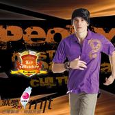 【瑪蒂斯】男款短袖抗UV POLO衫(紫)金蔥龍圖騰 奈米竹炭排汗衣(百和黑絲絨)G9303