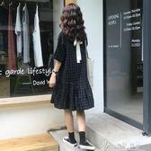 夏裝女裝韓版中長款寬鬆顯瘦小清新繫帶蝴蝶結格子短袖連身裙長裙 奇思妙想屋