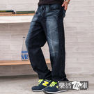 牛仔褲★MIT繡線造型刷色壓皺伸縮中直筒...