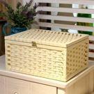 【京東生活小物】藤編帶扣收納盒案頭收納箱有蓋零食盒儲物箱內衣雜物箱子盒子 大號