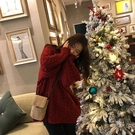 毛衣外套 酒紅色圣誕毛衣女外穿套頭寬松外套慵懶風加厚麻花秋冬復古港風潮 風尚