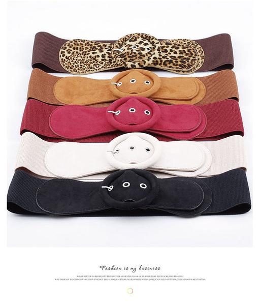 腰封皮帶 素色 圓環 針釦 豹紋 鬆緊 彈性 搭釦 百搭 寬版 腰封 腰帶【NRZ182】 BOBI  03/21