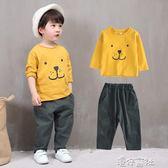男童秋裝套裝韓版衣春秋季童裝寶寶洋氣帥氣棉麻兩件套 港仔會社