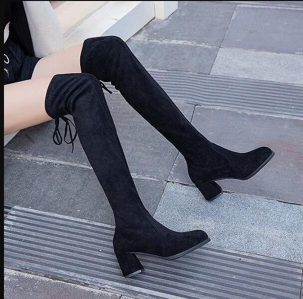 長筒靴 過膝靴女2020年新款秋冬黑色絨面高筒長靴瘦瘦靴粗高跟單靴子