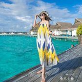 海邊度假沙灘裙夏女2018新款綿綢吊帶洋裝大碼顯瘦泰國大擺長裙 晴光小語