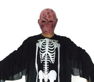 化妝舞會面具 鬼骨架衣服+火燒怪面具