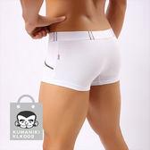 【熊老大】-4_仿皮帶假口袋設計舒適貼身棉質四角褲_白色【KLK002】