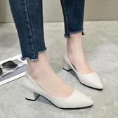 新款女夏季單鞋時尚英倫簡約高跟單鞋尖頭淺口粗跟套腳百搭潮 雙12全館免運