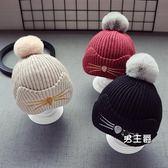 (交換禮物)秋冬兒童寶寶毛線帽子1男童毛球帽針織帽女童套頭帽5個月-2歲保暖