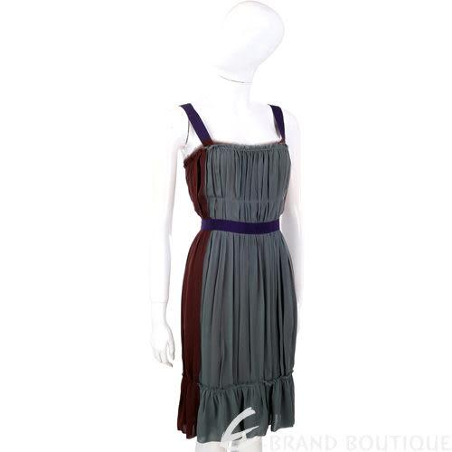 PHILOSOPHY 綠/咖啡色紗質拼接洋裝 0930196-81