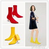 細跟裸靴2018新款秋冬襪靴彈力靴襪子靴高跟鞋女紅色婚鞋尖頭細跟短靴女 伊蒂斯女裝