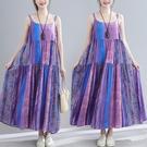 洋裝 中大尺碼女裝 2021夏季新款文藝范印花寬鬆大碼棉麻吊帶中長款連身裙胖妹妹
