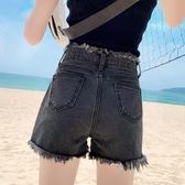 高腰煙灰色牛仔短褲女寬鬆闊腿夏2020顯瘦學生百搭a字毛邊熱褲潮 歐歐