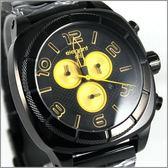 【萬年鐘錶】elegant大錶徑 三眼多功能 (亮黑-黄) ELJT66-FY12MA