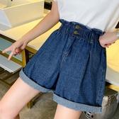 牛仔短褲2020春夏新款寬鬆卷邊大碼裝高腰花苞