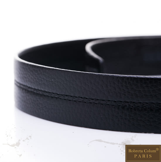 Roberta Colum - 極簡精品款自動金屬滑扣黑牛皮皮帶