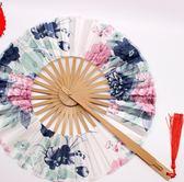日式和服扇團圓扇360度風車扇古典女式折疊扇工藝禮品扇子送老外 qf2183【黑色妹妹】