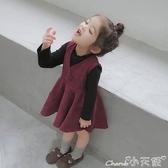 加絨洋裝 女童背心裙秋冬寶寶連身裙冬季兒童洋氣裙子小童加絨裙2020冬裝新 小天使