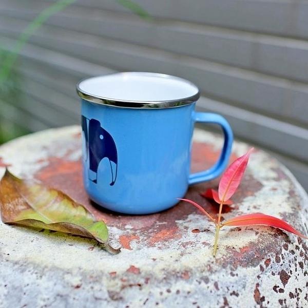 Wind & Whisper 南洋琺瑯 馬克杯 大象圖騰(藍天)