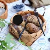 野餐? 水果籃藤編收納筐編織籃子收納籃面包籃子桌面零食筐野餐籃 2色