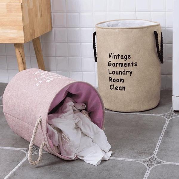 北歐布藝髒衣簍衣物收納桶籃可折疊髒衣籃玩具收納筐【宅貓醬】