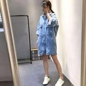 牛仔連體褲女2018新夏歐美短袖連衣褲工裝休閒寬鬆顯瘦短褲連身褲
