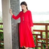 大尺碼洋裝沙灘裙海邊度假大尺碼亞麻長裙民族風寬鬆文藝棉麻連身裙