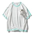 日系小熊街頭潮牌體恤T恤 潮流嘻哈高街塗鴉T恤 男生五分袖T恤 2021夏季歐美寬鬆短袖T恤
