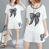 文藝清新大尺碼女裝休閒蝴蝶貼布印花短袖上衣 鬆緊腰短褲時尚套裝