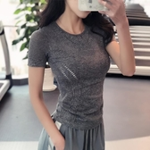 排汗衣 健身女孩 冰涼緊身高彈運動短袖速干透氣跑步訓練T恤顯瘦瑜伽上衣