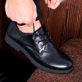 秋季林彎彎復古日系英倫男鞋工作皮鞋潮男大頭鞋低幫馬丁靴黑色鞋『潮流世家』