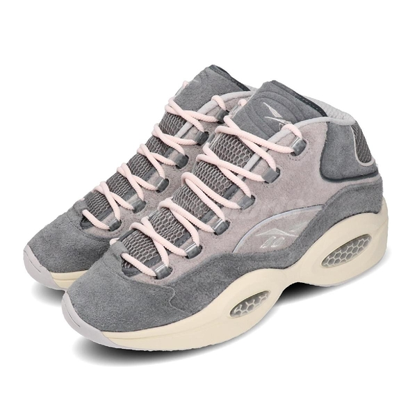 Reebok 籃球鞋 Question Mid 灰 麂皮 米色 男鞋 運動鞋 CNY 復古 休閒鞋【PUMP306】 FW0875