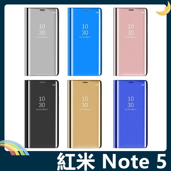 Xiaomi 小米 紅米機 Note 5 電鍍半透保護套 鏡面側翻皮套 免翻蓋接聽 原裝同款 支架 手機套 手機殼