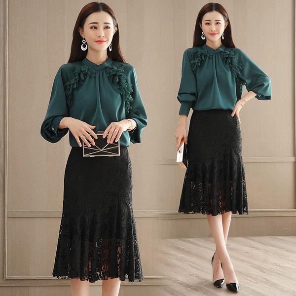 VK精品服飾 韓版時尚燈籠袖上衣蕾絲半身裙套裝長袖裙裝