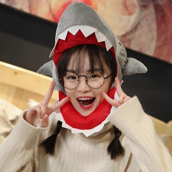 搞怪帽子 日系韓版可愛帽子搞怪鯊魚恐龍頭套圣誕麋鹿少女拍照道具秋冬季潮-Ballet朵朵