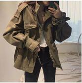 新款韓國chic復古百搭工裝寬鬆風衣