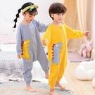 兒童連體睡衣春秋純棉長袖家居服睡袋哈衣寶寶可愛卡通秋季男女童