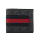【GUCCI】經典GG Supreme系列GG織帶折疊短夾(藍紅) 408827 KHN4N 1095