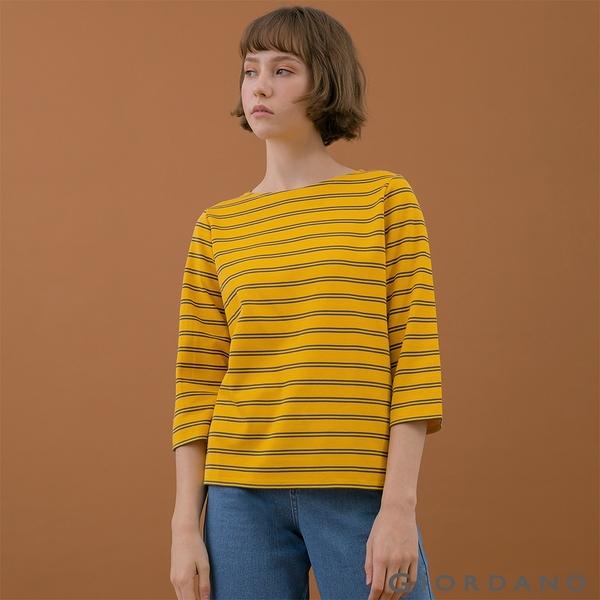 【GIORDANO】女裝簡約厚磅七分袖T恤 - 85 一支黃/標誌灰