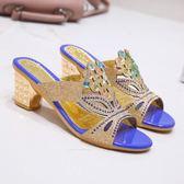 夏季外穿時尚中跟坡跟水鉆韓版百搭網紅粗跟媽媽鞋涼鞋JA6514『麗人雅苑』