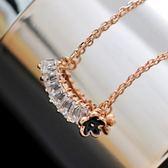 項鍊 玫瑰金 水晶純銀吊墜-小花長方形生日情人節禮物女飾品73dw132[時尚巴黎]