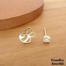 §海洋盒子§可愛精色小蜜蜂單鑽不對稱925純銀耳環