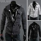 Free Shop 騎士潮感立領口造型假兩件設計連帽外套 休閒韓版修身撞色 有大尺碼【QTJW04】