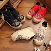 復古民族風布鞋深口蓮花亞麻拼接云南特色繡花鞋舒適戶外鞋女 降價兩天