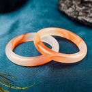 玉鐲 寶石天然花瑪瑙手鐲橘黃色自然花玉髓圓鐲送女友閨蜜生日禮物